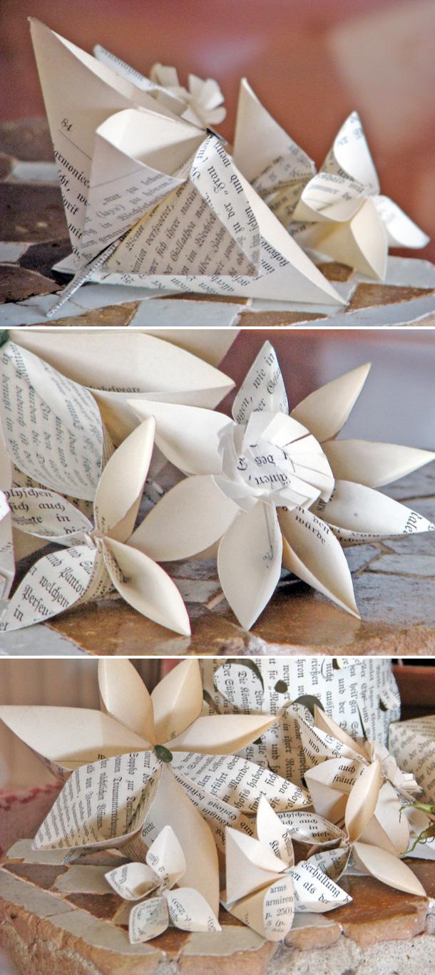 Papierblüten aus alten Buchseiten von Antje Herden