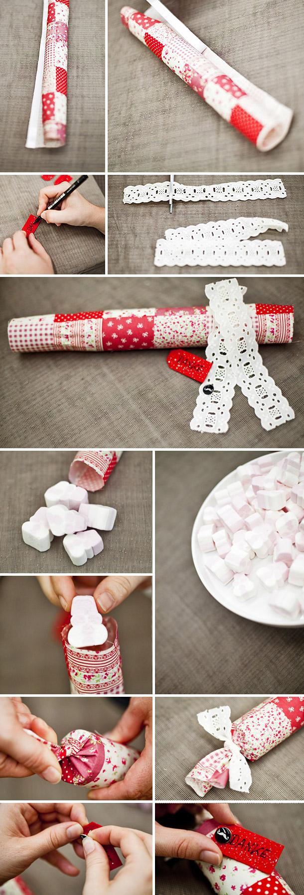 DIY Marschmellows Hochzeitsbonbons gefuellt mit als Gastgeschenk