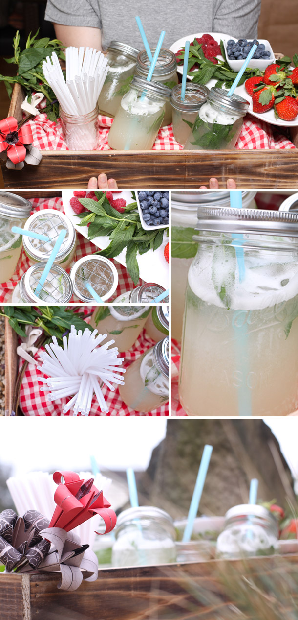 Zitronenlimonade selbstgemacht fuer die Sommerparty