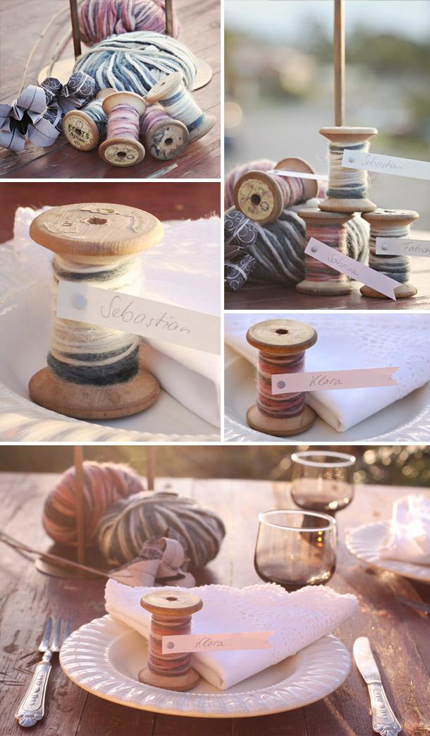 DIY - Platzkarten aus Holzspindeln
