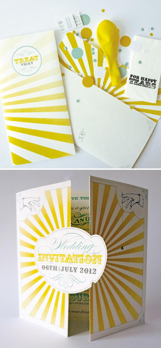 Sonnengelbe Hochzeitseinladung