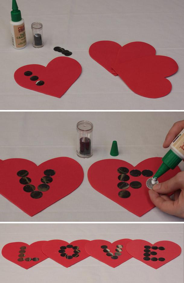 Hängende DIY Herzgirlande LOVE - DIY (Do It Yourself)