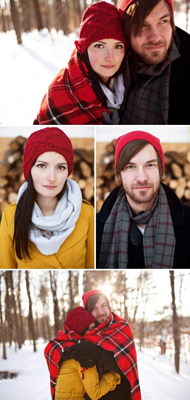 Verlobungsshooting von Ruth und Nate im Schnee fotografiert von Rebecca Hansen Weddings