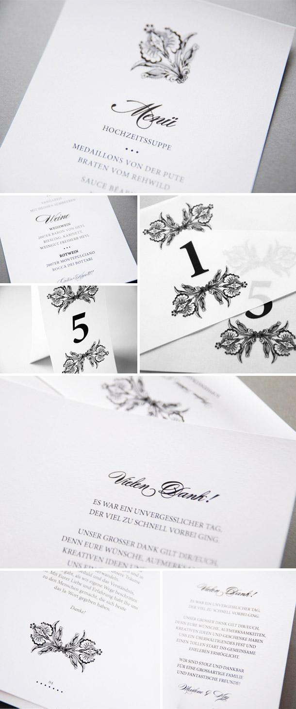 Elegantes schwarz-weiss Einladungsset von Andrea Staehr