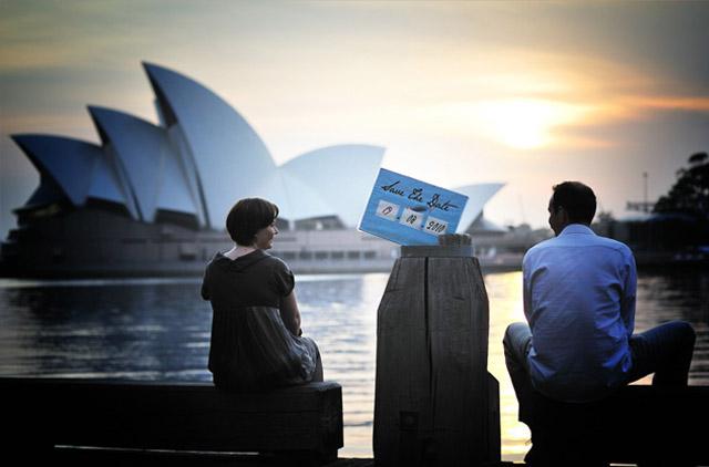 Patricia und Alexander Save the Date an der Sydney Oper