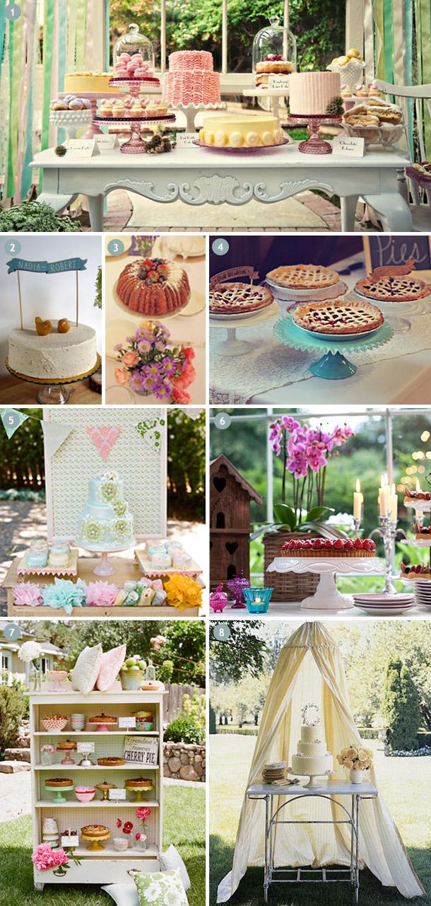 Vintage Hochzeitstorten und Kuchenbuffets Inspirationen