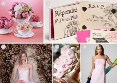 Inspirationsboard Rosafarbene Frühlingshochzeit