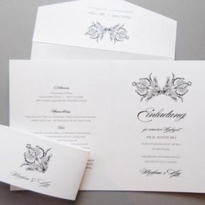 Elegantes schwarz-weiss Einladungsset