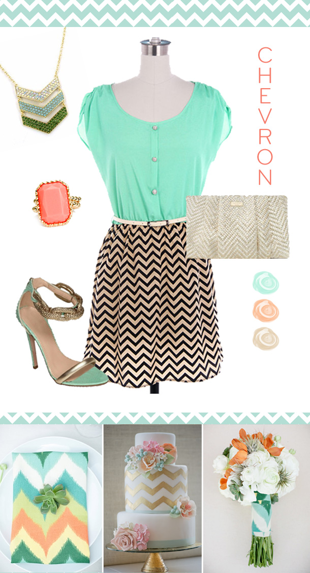Inspirationssonntag Chevron in Mint-Gold