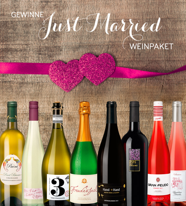 Gewinne ein Just Married Weinpaket