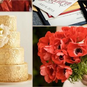 Zur Feier des Tages eine Hochzeitsinspiration in Schwarz-Rot-Gold