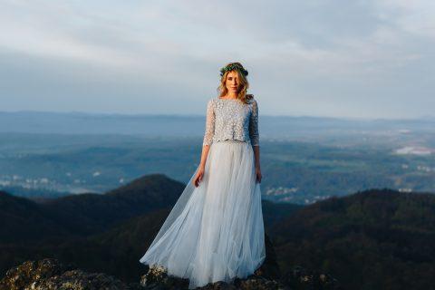 Brautkleid Anais von noni, Boho Stil, Blau, mit Tüllrock und Spitzentop