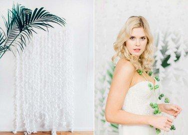 Backdrop aus zarten Blütengiralanden