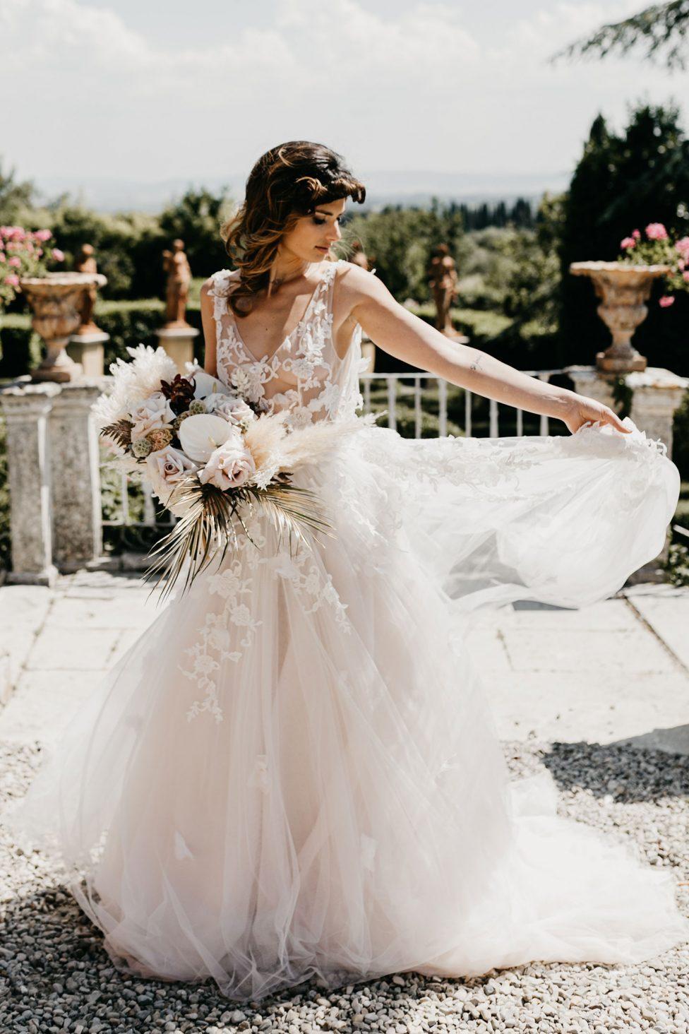 Boho-Glam Inspiration für eine Toskana-Hochzeit