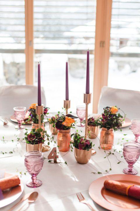 Modernes Wintermaerchen in Kupfer Lila und Orange