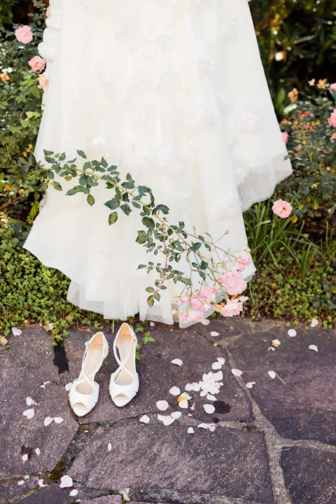Pfirsichfarbenes Hochzeitsvergnügen an der Lahr,